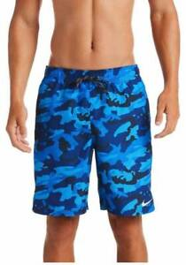 MEN'S SIZE LARGE BLUE CAMOUFLAGE NIKE 9 INCH VOLLEY SWIM SHORTS NWT