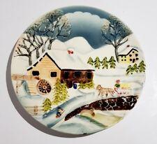 Vintage Pottery Winter Scene Plate