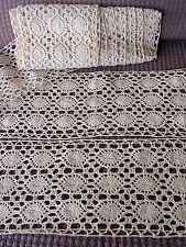 LARGE DENTELLE ANCIENNE Faite Main en Coton Ecru  Grand Métrage 485 cm x 14 cm