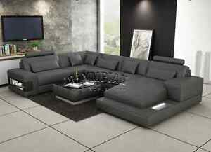 Modern Large LEATHER SOFA Corner Suite NEW Grey U shape Modular