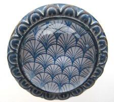 Metall Glas Möbelknauf RETRO Möbelknopf blau weiß antik Vintage
