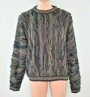 VTG 90s COOGI Australia Cosby BIGGIE Chunky sweater Earth Tones Vaporwave Sz L