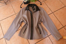 X-TWO Damen Jacke Kunstlederbesatz 48 50 NEU! grau/schwarz Stretch LAGENLOOK