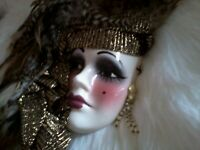 VTG ART DECO FEATHER PAINTED CERAMIC WOMAN FACE WALL HANGING **F/S**