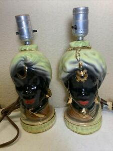 Vintage Pair 50s/ 60s African  Nubian Style Ceramic Table Lamp Lamps