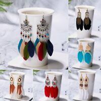 Vintage Women Boho Feather Long Drop Dangle Hook Earrings folk custom Jewellery
