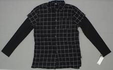 NWT Jackson Mens Layered Flannel Shirt with Thermal Sleeves Black / White Small