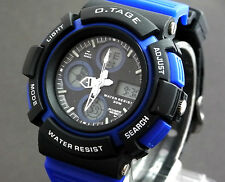 Men School Boys Blue Sports Analog Digital Watch Watchlight Day Date Alarm Timer