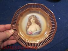 """SCHUMANN GERMANY 7"""" PORTRAIT PLATE RETICULATED BORDER LADY WOMAN GIRL # 2"""