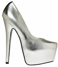 Highest heel 'Marquis-11'  Size 13  Silver Metallic w/hidden platform