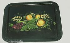 Antique Black Toleware Large Tole Tray Fruit Grapes Peaches Hand Painted & Sgnd