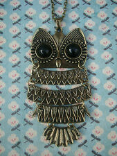 FUNKY LARGE BRASS WISE OWL NECKLACE JOINTED KITSCH CUTE RETRO BIRD WISDOM EMO