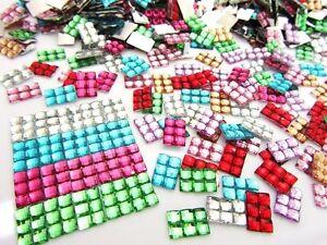 200 Rectangle Acrylic Rhinestone Craft Jewel Embellishment/Square Cut E26-Color