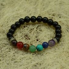 Seven Chakra Bracelet With Black Tourmaline 8 MM