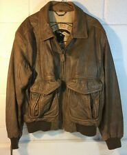 Leather Bomber Jacket - Members Only Voyager A-2 - Size 42