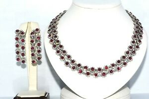 70.82CT NATURAL VIETNAMESE RUBY & DIAMOND 2 ROW NECKLACE & EARRING SET