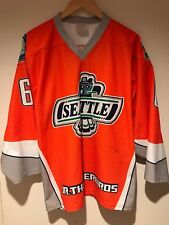 SEATTLE JR THUNDERBIRDS PROJOY Game Used Worn AHA Hockey Jersey #6 HO Adult XS