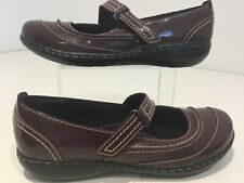 Womens Clarks Mary Jane Easy Fasten Maroon Patent Leather Flats Shoes Buckleuk5d