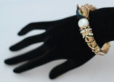 Vintage style elegant peacock and pearl Indian statement bracelet, medium