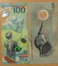 Football championship 2018 polymer notes set 100 rubles UNC, 5 rufia  UNC