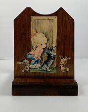 1970's Vintage Decoupaged Wood Letter Napkin Holder Girls Kitty Bunny