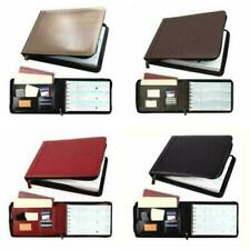 7 Ring Business Check Book Binder 3 On A Page Zippered Leather Look 12 Colors