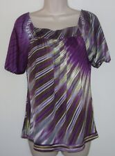 """AB Studio Multi Color Short Sleeve Pull Over Top S Bust 34"""" Length 24"""""""