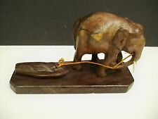 VINTAGE WOODEN ELEPHANT HANDCARVED FROM INDIA HAULING LOAD