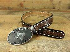 Lynn Texas Leather Belt Tooled Buckstitched Western Lone Star State Brown 28 30