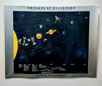 Vintage 1989 Laminated 22x29 Voyages of Discovery Space Poster Merrell Science
