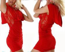 Sexy Miss Ladies Waterfall Girly Trendy Mini Dress Lace Raff 34/36/38 Red New