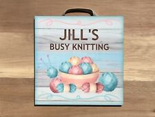 BUSY KNITTING ROOM DOOR NAME SIGN Custom Made Personalised Wool Wall Plaque