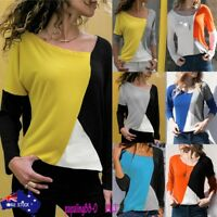 Fashion Women Casual Patchwork Color Block O-Neck Long Sleeve T-Shirt Blouse Top