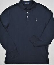 Polo Ralph Lauren French Terry 3-Button Long Sleeve Polo Shirt Navy S M NWT $90