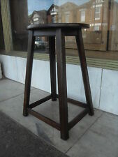 Victorian Antique Oak Stool / Oak Seat With Peg Joining And Splayed Legs