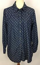 Woman Within Blue Chambray Polka Dot Button Front Shirt Easy Fit Size L (18W)