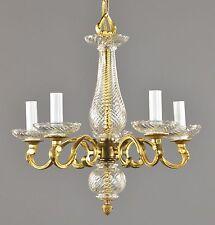 1930's Glass & Brass Italian Chandelier Vintage Antique Gold Regency
