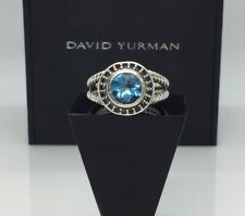 Authentic-David Yurman Petite Cerise Ring w/ Blue Topaz & Sapphire Halo 6