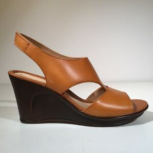 NATURALIZER Brown Leather ORRIN Wedge Sandal 10 M - New with Blemish - $85