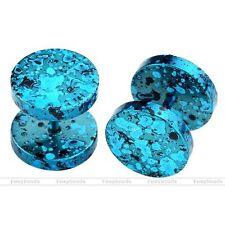 2 Blanco Negro Enchufe Falso Fake Cheater Plugs Gauges Pendientes con Azul Circonita de Hombre Mujer Acero Inoxidable