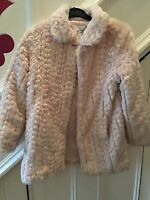 SIZE AGE 10 SWEET MILLIE PALE PEACH FAUX FUR JACKET XMAS/PARTY/WINTER RRP £65