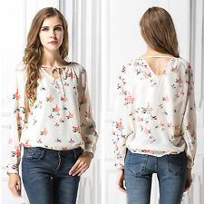 Womens Summer Chiffon Blouse Casual Long Sleeve T-Shirt Ladies Loose Tops Shirt