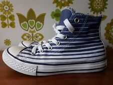 Size 2 Blue & White Striped Converse All Star High Tops