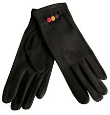 Black Gloves Ladies Faux Suede Pink Yellow Button Trim Warm Cosy Full Winter