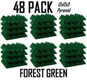 """Acoustic Foam Pro-Pack 48 Forest Green Pyramid Studio Soundproof Tiles 12x12x3"""""""
