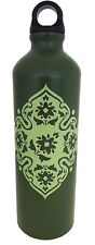 Kitchsmart Aluminum Water Bottle W/Plastic Screw Lid Looped on Top,Army Green