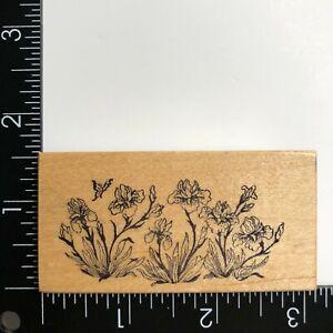 PSX Designs Iris Flower Garden E612 Wood Mounted Rubber Stamp Botanical