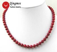 6-7mm Round Red Natural Coral Necklace for Women Chokers 17'' Jewelry nec7013