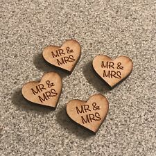 50 x Laser Cut Wooden Heart shapes Mr And Mrs Engraved MDF 20mm x 20mm