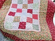 "Vintage Patchwork  Quilt 4 1/2""  Squares Handmade Three different borders. 49X58"